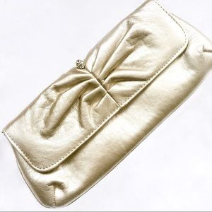 Champagne Gold Clutch with Rhinestone Detail